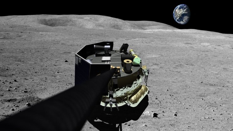 An artist illustration of the Moon Express MX-1 lunar lander on the surface of the moon. Image Credit: Courtesy of Moon Express Inc.