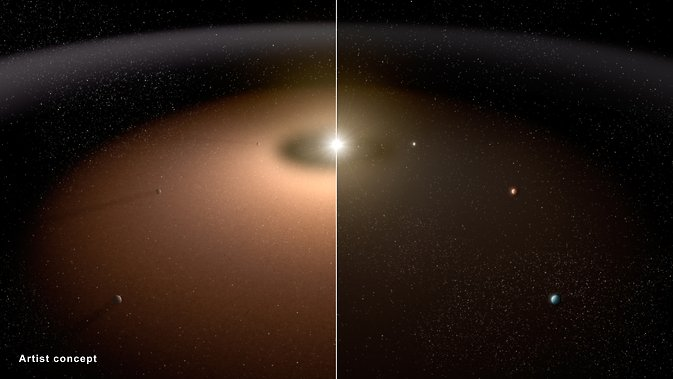 A dusty planetary system (left) is compared to another system with little dust in this artist's conception. Image Credit: NASA/JPL-Caltech