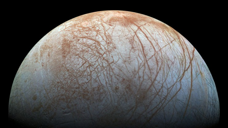 Jupiter's icy moon Europa displays many signs of activity, including its fractured crust and a dearth of impact craters. Scientists continue to hunt for confirmation of plume activity.Image credit: NASA/JPL-Caltech/SETI Institute