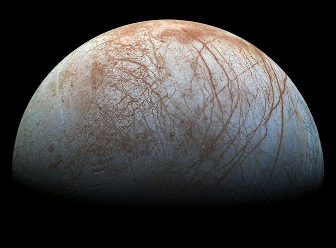 Jupiter's icy moon Europa displays many signs of activity, including its fractured crust and a dearth of impact craters. Scientists continue to hunt for confirmation of plume activity. Image Credit: NASA/JPL-Caltech/SETI Institute