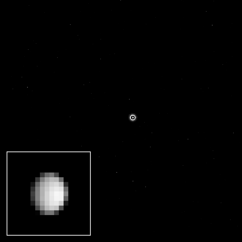The Dawn spacecraft acquired this view as part of a calibration of its science camera. Ceres is the bright spot in the center of the image. A cropped, magnified view of Ceres appears in the inset image at lower left. Image Credit: NASA/JPL-Caltech/UCLA/MPS/DLR/IDA
