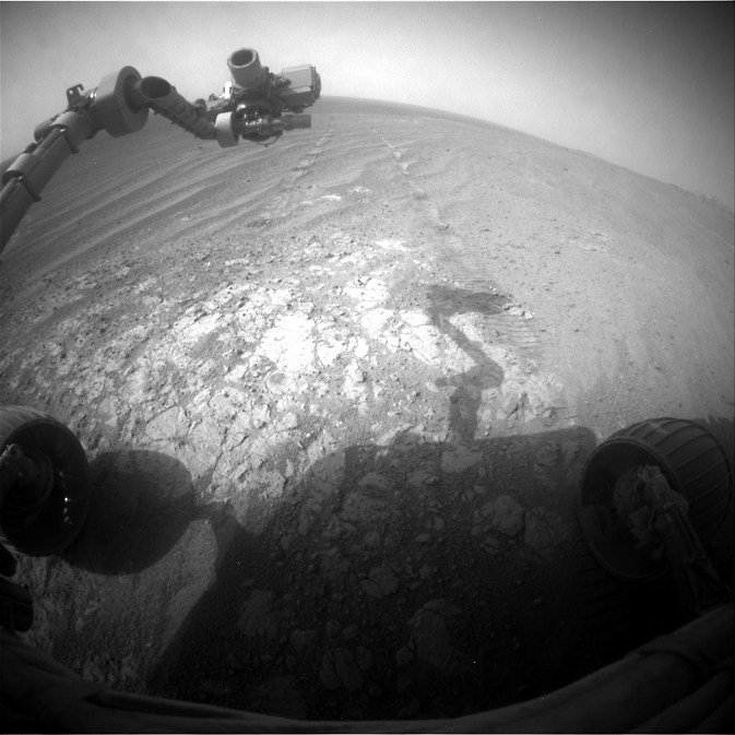 NASA's Mars Exploration Rover Opportunity is continuing its traverse southward on the western rim of Endeavour Crater during the fall of 2014, stopping to investigate targets of scientific interest along way. This view is from Opportunity's front hazard avoidance camera on Nov. 26, 2014. Image Credit: NASA/JPL-Caltech
