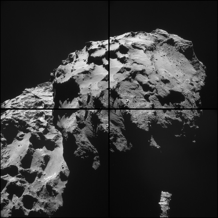 This mosaic of images from the navigation camera on the European Space Agency's Rosetta spacecraft shows the nucleus of comet 67P/Churyumov-Gerasimenko as it appeared at 5 a.m. UTC on Dec. 17, 2014 (9 p.m. PST on Dec. 16). Image Credit: ESA/Rosetta/NAVCAM