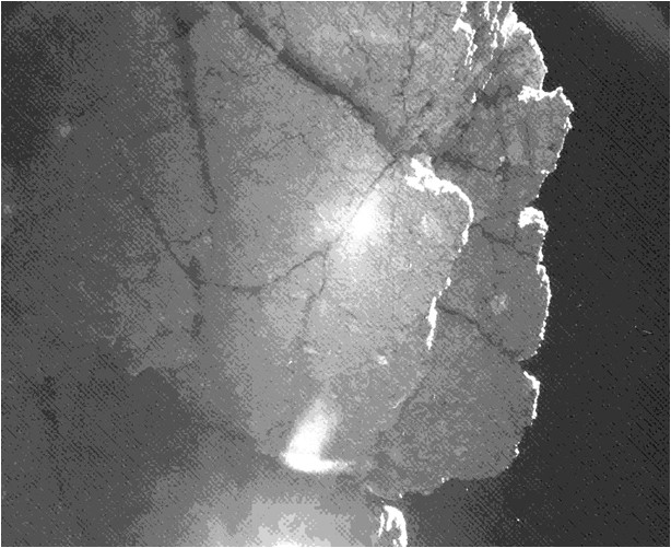 """From the location where it came to rest after bounces, the Philae lander of the European Space Agency's Rosetta mission captured this view of a cliff on the nucleus of comet 67P/Churyumov-Gerasimenko. The feature is called """"Perihelion Cliff."""" The image is from the lander's CIVA camera. Image Credit: ESA/Rosetta/Philae/CIVA"""