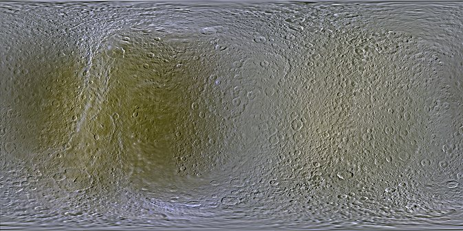 Map of Rhea (before and after). Image Credit: NASA/JPL-Caltech/SSI/LPI