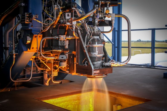 A SuperDraco thruster being tested at the Rocket Development and Test Facility in McGregor, Texas. Credit: SpaceX