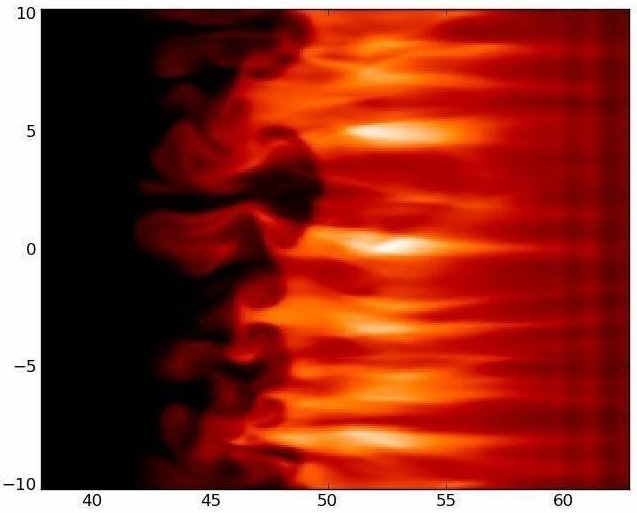 Streaming gas in the corona: Here a typical result of the new simulation computation based on magnetohydrodynamics. As in the observations, the dark finger-like structures indicate the Rayleigh-Taylor instability. © MPS
