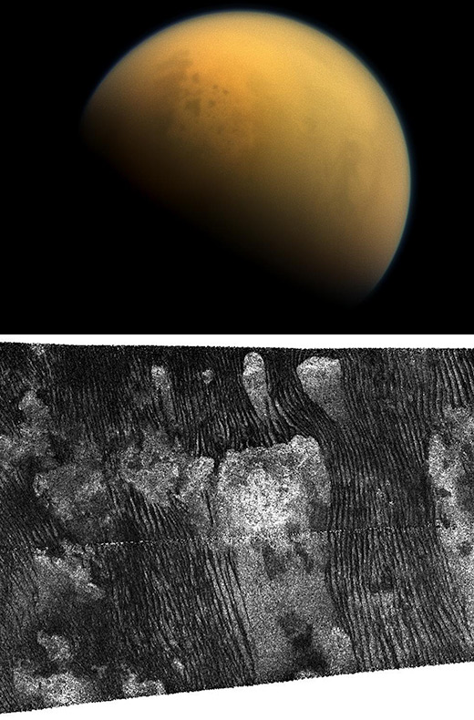 Above: Saturn's largest moon, Titan. Below: black streaks show dunes made of grains of coated ice on the surface of Saturn's moon, Titan. New wind tunnel studies will help researchers understand how the dunes form. (NASA/JPL images from the Cassini space mission)