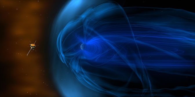 The Wind spacecraft has spent much of its 20 years in space out in front of the magnetic fields – the magnetosphere – that surrounds Earth, observing the constant stream of particles flowing by from the solar wind. Image Credit: NASA