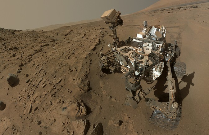 """Curiosity component images combined into a self-portrait at drilling target """"Windjana."""" Image Credit: NASA/JPL-Caltech/MSSS"""