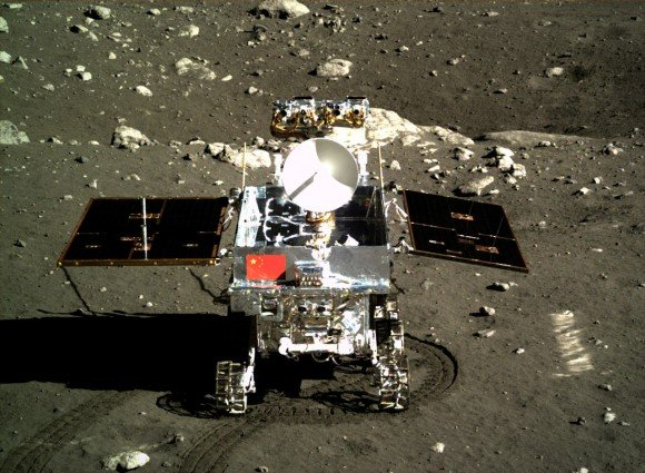 Taking the Chinese Yutu rover out for a spin on the Moon. The mission began in December 2013. Credit: Chinese Academy of Sciences
