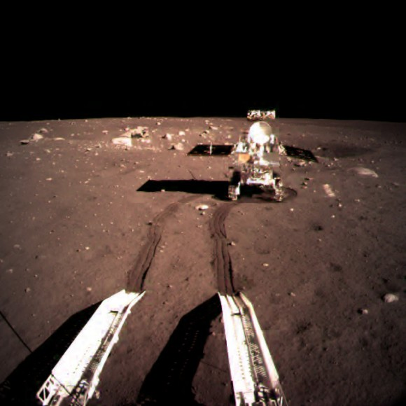 The Yutu rover leaves the Chang'e-3 lunar lander in December 2013. Credit: Chinese Academy of Sciences