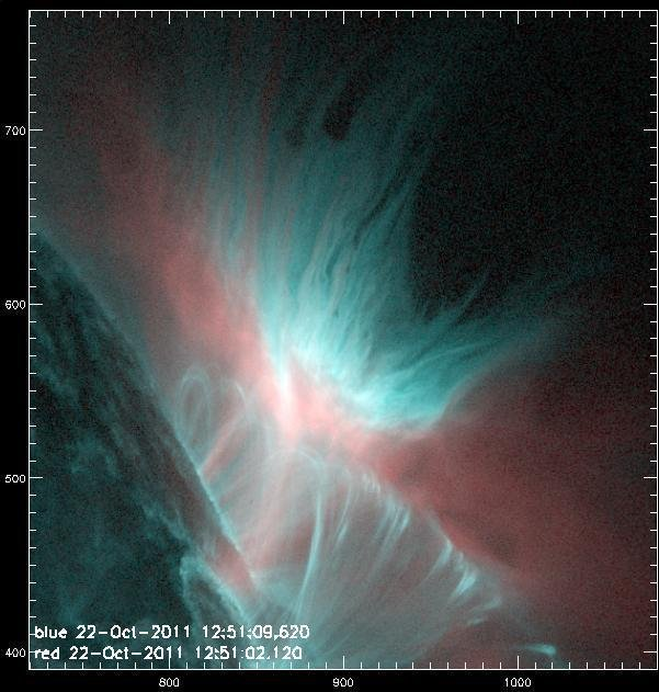 A witch's cauldron in the solar atmosphere: The image originates from the AIA instrument of the American SDO satellite and shows the ultraviolet radiation from part of the corona on 22 October 2011. It was taken at a wavelength of 13.1 nanometres (shown in blue) and 9.4 nanometres (red). The dark finger-like structures of the Rayleigh-Taylor instability at the top of the image can be clearly distinguished from the blue plasma. © NASA / SDO / MPS