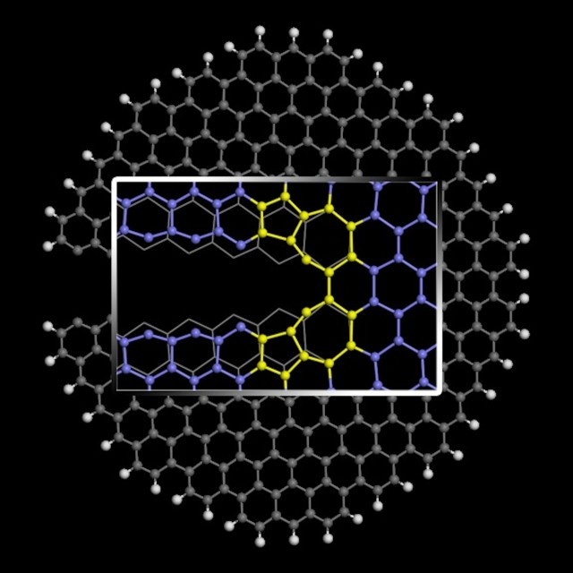 "Graphene nanoribbons can be enticed to form favorable ""reconstructed"" edges by pulling them apart with the right force and at the right temperature, according to researchers at Rice University. The illustration shows the crack at the edge that begins the formation of five- and seven-atom pair under the right conditions. Illustration by ZiAng Zhang"
