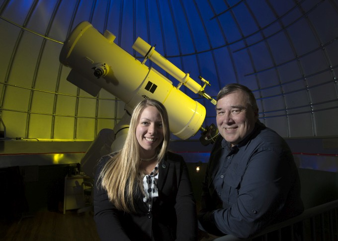 Grad student Carla Carroll and Professor Michael Joner co-authored a study estimating the size of a distant black hole.