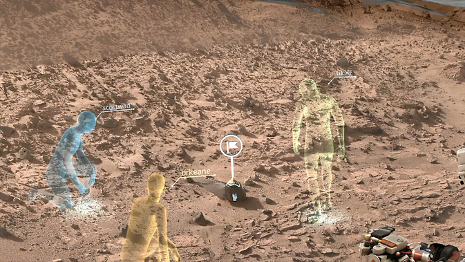 New NASA software called OnSight will use holographic computing to overlay visual information and data from the agency's Mars Curiosity Rover into the user's field of view. Holographic computing blends a view of the physical world with computer-generated imagery to create a hybrid of real and virtual. Image Credit: NASA