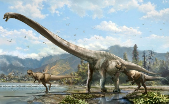 Artist's conception of Qijianglong, chased by two carnivorous dinosaurs in southern China 160 million years ago (Illustration: Lida Xing)