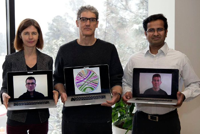 From left, Los Alamos National Laboratory authors Lyudmila Balakireva, Herbert Van De Sompel and Harihar Shankar, and Martin Klein and Robert Sanderson (on computer screens). Their work was published in the Public Library of Science Dec. 26, 2014.