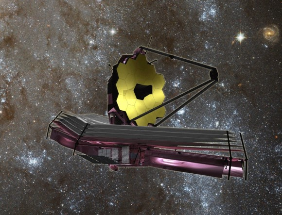 The James Webb Space Telescope, scheduled for launch in 2018, may be the first to be capable of detecting biomarker gases in the atmospheres of extrasolar planets. When an exoplanet passes between its star and Earth, an event called a transit, light that has passed through the planet's atmosphere can be detected from a vantage point near Earth. When light passes through the exoplanet's atmosphere, some wavelengths are absorbed and others transmitted. By analyzing the transmitted light spectrum, astronomers can learn the composition of the planet's atmosphere. Astrobiologists hope to find biomarker gases indicating the metabolic waste products of life. The oxygen in Earth's atmosphere is a waste product of photosynthesis in plants and bacteria. The Webb telescope may be capable of conducting this test for planets larger than Earth (super-earths) transiting small stars. Space telescopes capable of conducting such research on a larger scale have been delayed by budget cuts. Credit: NASA