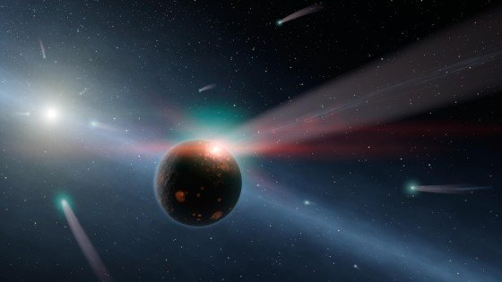 The Large Binocular Telescope Interferometer (LBTI) instrument set its eyes on a dusty star system called Eta Corvi, depicted here in this artist's concept. Recent collisions between comets and rocky bodies within the star system are thought to have generated the surplus of dust. Image Credit: NASA/JPL-Caltech