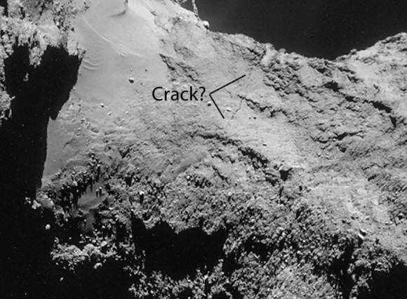 The fissure is not a very recent event. Universe Today's Bob King published an earlier image in his blog in September and added a question to illustrate. Whether the crack has widened since that time is not certain. (Image Credit: ESA, Illustration, Bob King)
