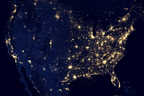 Lights from the United States glow in this night image based on data taken from the Suomi NPP satellite in April and October 2012. Credit: NASA Earth Observatory/NOAA NGDC
