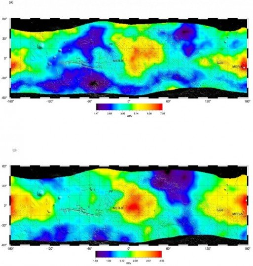 Water (above) and sulfur (below) mass fractions found within the martian soil are mapped up to about 30-40 cm deep at hundreds of kilometer regional scales. Map courtesy of Suniti Karunatillake, Louisiana State University