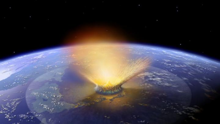 This illustration shows an astroid hitting the Earth. Image credit: Don Davis