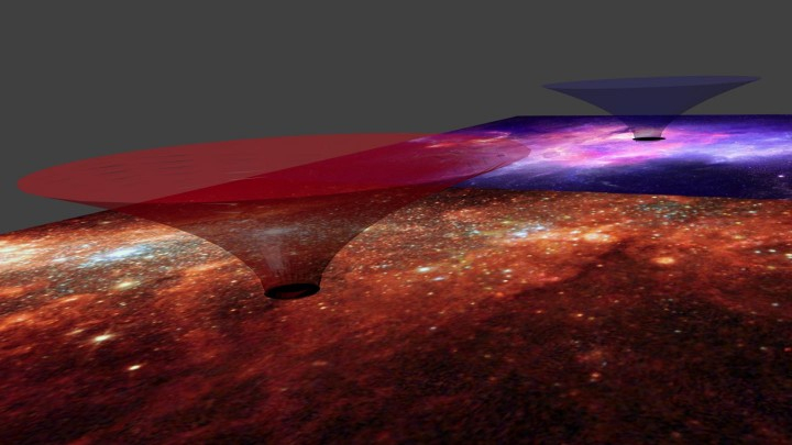 The (hypothetical) wormhole proposed by Kuefettig, Salucci et al connecting the center with a very far position of our Galaxy when one passes through its throat. Image credit: SISSA (Saluci)