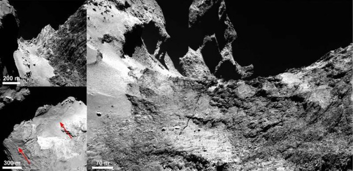 A fissure in the comet: In the Hapi region on the neck of 67P/Churyumov-Gerasimenko, a fissure approximately 500 metres long extends into the Anuket region. Top left: Looking towards the Hapi region. Bottom left: This image shows the fissure in the Hapi region and beyond. Right: The fissure extends into the Anuket region. © ESA/Rosetta/MPS for OSIRIS Team MPS/UPD/LAM/IAA/SSO/INTA/UPM/DASP