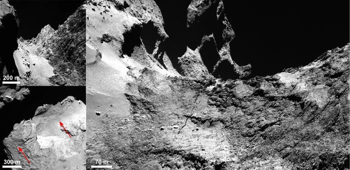 OSIRIS images of Comet 67P/Churyumov–Gerasimenko showing the details of a 500 m-long crack running through the Hapi region. A context image showing the smooth, boulder-strewn Hapi region and the Hathor cliff face to the right is shown in the top left panel. The bottom-left panel indicates the crack extending across Hapi and beyond. The right panel shows the crack where it leaves Hapi and extends into Anuket, with Seth at the uppermost left and Hapi in the lower left. Credits: ESA/Rosetta/MPS for OSIRIS Team MPS/UPD/LAM/IAA/SSO/INTA/UPM/DASP/IDA