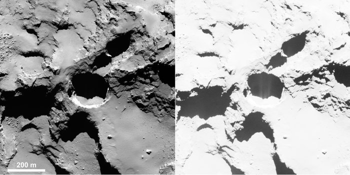 Active pit detected in Seth region of Comet 67P/Churyumov–Gerasimenko. This is an OSIRIS narrow-angle camera image acquired on 28 August 2014 from a distance of 60 km. The image resolution is 1 m/pixel. Enhancing the contrast (right) reveals fine structures in the shadow of the pit, interpreted as jet-like features rising from the pit. Credits: ESA/Rosetta/MPS for OSIRIS Team MPS/UPD/LAM/IAA/SSO/INTA/UPM/DASP/IDA