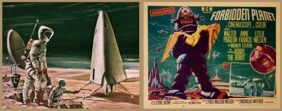 Mars, the forbidden planet? No. The Amazing planet? Yes. Foreboding? Perhaps. Radiation exposure, electronic or mechanical mishaps and years of zero or low gravity are the perils that the first Mars explorers face. But humanity's vision of landing on Mars remains just illustrations from the '50s and '60s. A select few – Mars Rover navigators – have experienced the surface of Mars in virtual reality. (Photo Credits: Franklin Dixon, June 12, 1964 (left), MGM (right))
