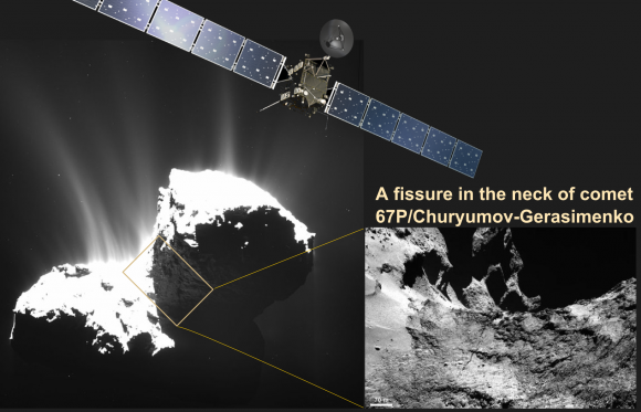 A fissure spanning over 100 meters across the neck of Rosetta's comet 67P raises the question of if, or when, the comet will break up. The fissure is part of released studies by Rosetta scientists in the journal Science. (Image Credits: ESA/Rosetta, Illustration, T.Reyes)