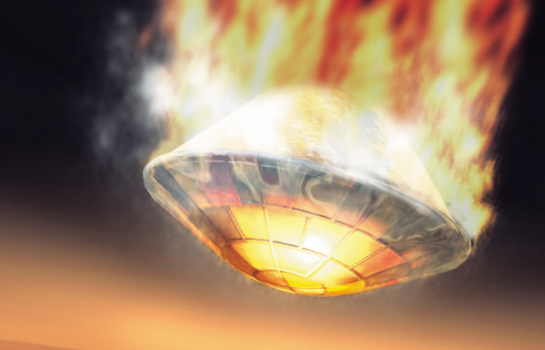 Tucked away in its entry shell, Beagle 2 descends onto Mars. (Artist's impression by ESA/Medialab)