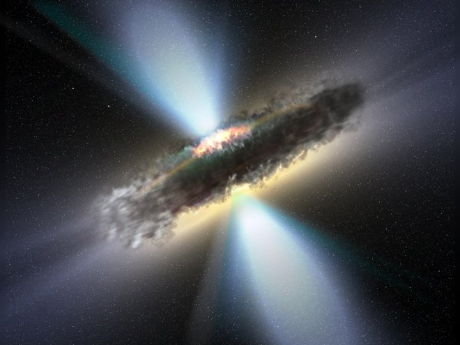 Artist's impression of a hyperluminous quasar surrounded by a thick accretion disc with two powerful jets. This object may be very similar to newly discovered J013127.34–032100.1. Image credit: NASA