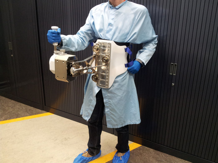 Body-mounted astronaut joystick for the Haptics-1 experiment, developed by ESA's Telerobotics and Haptics Laboratory as part of the multi-agency Meteron (Multi-Purpose End-to-End Robotic Operation Network) initiative, investigating telerobotics for space. Copyright ESA