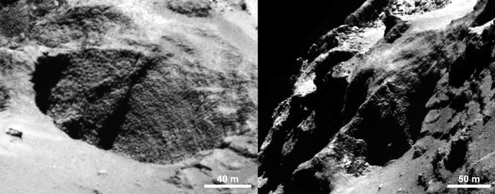 Close-ups of a curious surface texture nicknamed 'goosebumps'. The characteristic scale of all the bumps seen on Comet 67P/Churyumov–Gerasimenko by the OSIRIS narrow-angle camera is approximately 3 m, extending over regions greater than 100 m. They are seen on very steep slopes and on exposed cliff faces, but their formation mechanism is yet to be explained. Credits: ESA/Rosetta/MPS for OSIRIS Team MPS/UPD/LAM/IAA/SSO/INTA/UPM/DASP/IDA