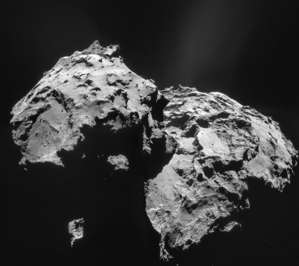 This four-image mosaic comprises Rosetta navigation camera images taken from a distance of 27.9 km from the centre of Comet 67P/Churyumov-Gerasimenko on 12 January. The image resolution is 2.4 m/pixel and the individual 1024 x 1024 frames measure about 2.4 km across. The mosaic measures 4.4 x 3.9 km. Copyright ESA/Rosetta/NAVCAM – CC BY-SA IGO 3.0