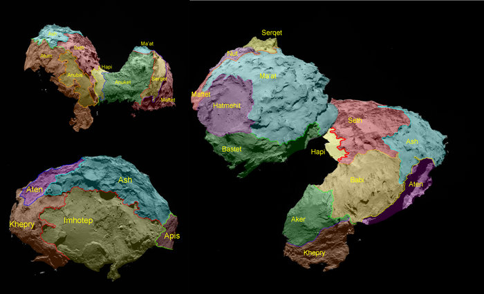 The 19 regions identified on Comet 67P/Churyumov–Gerasimenko are separated by distinct geomorphological boundaries. Following the ancient Egyptian theme of the Rosetta mission, they are named for Egyptian deities. They are grouped according to the type of terrain dominant within each region. Five basic categories of terrain type have been determined: dust-covered (Ma'at, Ash and Babi); brittle materials with pits and circular structures (Seth); large-scale depressions (Hatmehit, Nut and Aten); smooth terrains (Hapi, Imhotep and Anubis), and exposed, more consolidated ('rock-like') surfaces (Maftet, Bastet, Serqet, Hathor, Anuket, Khepry, Aker, Atum and Apis). Credit: ESA/Rosetta/MPS for OSIRIS Team MPS/UPD/LAM/IAA/SSO/INTA/UPM/DASP/IDA