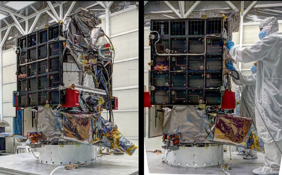 DSCOVR in the final stages of integration prior to shipment to the Cape. Two perspectives, one with engineers in a clean room revealing the relative size. (Photo Credits: NASA/GSFC)