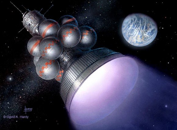 David Hardy's illustration of the Daedalus Project envisioned by the British Interplanetary Society – a spacecraft to travel to the nearest stars. Advances in artificial intelligence and robotics leads one to wonder who shall reside inside such vessels of the future – robotic surrogates or human beings or something in between. (Credit: D. Hardy)