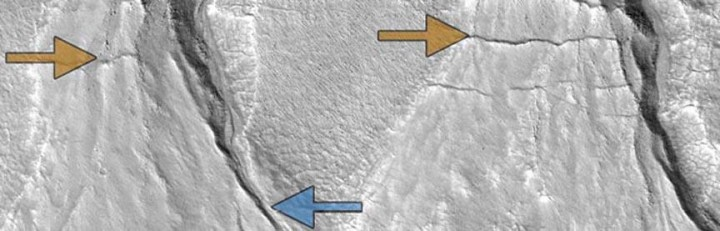 Martian gullies, old and new: Sharp-featured, relatively recent gullies (blue arrows) and degraded older gullies (gold) in the same location on the surface of Mars suggest multiple episodes of liquid water flow, consistent with cyclical climate change on the Red Planet. Image: NASA HiRISE