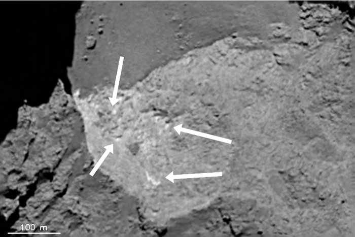 Local bright spots, less than 10 m across (labelled) and seen in an alcove in the Hathor region are compositionally distinct from the surrounding terrain. The image was taken by the OSIRIS narrow-angle camera on 7 August 2014. Credits: ESA/Rosetta/MPS for OSIRIS Team MPS/UPD/LAM/IAA/SSO/INTA/UPM/DASP/IDA