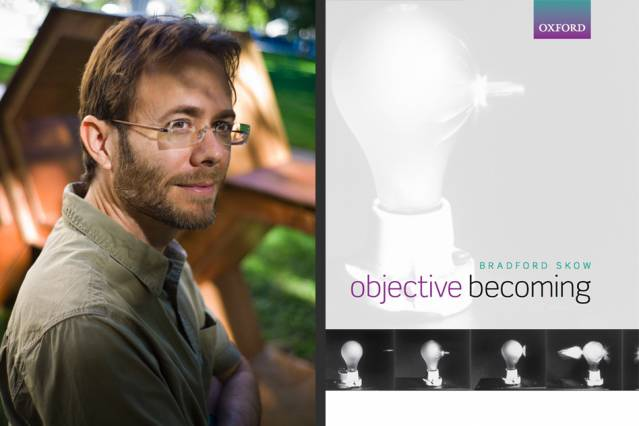 "Brad Skow and the cover of ""Objective Becoming"" (Oxford University Press). Photo: Dominick Reuter"