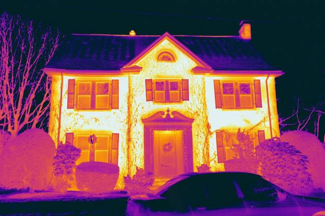 A heat map of a home captured by one of Essess' thermal-imaging cars. Courtesy of Essess