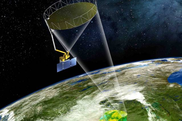 Artist's rendering of the SMAP instrument. Image courtesy of NASA