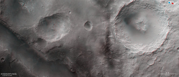 This anaglyph image, which provides a 3D view of the landscape when viewed using stereoscopic glasses with red–green or red–blue filters, was derived from data acquired by the nadir channel and one stereo channel of the High Resolution Stereo Camera on ESA's Mars Express. Copyright ESA/DLR/FU Berlin, CC BY-SA 3.0 IGO