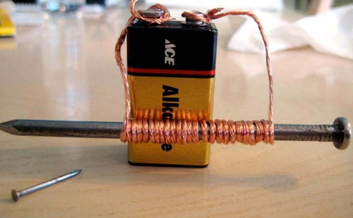 Electromagnets are made by wrapping wire in a coil and attaching it to a battery. The same technology is used to make the magnets used in large particle accelerators.