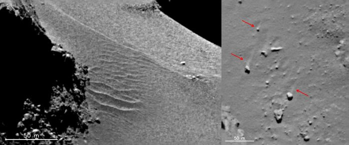 Features in the Hapi region show evidence of local gas-driven transport producing dune-like ripples (left) and boulders with 'wind-tails' (right) – where the boulder has acted as a natural obstacle to the direction of the gas flow, creating a streak of material 'downwind' of it. The images were taken with the OSIRIS narrow-angle camera on 18 September 2014. Credits: ESA/Rosetta/MPS for OSIRIS Team MPS/UPD/LAM/IAA/SSO/INTA/UPM/DASP/IDA